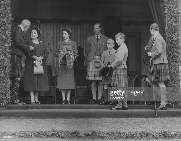 The Marquess of Aberdeen Lord Lieutenant of Aberdeenshire talking to Queen Elizabeth The Queen Mother at the opening ceremony of the Braemar...