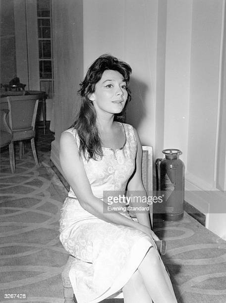 Film actress and singer Juliette Greco at the Savoy Hotel during a visit to London