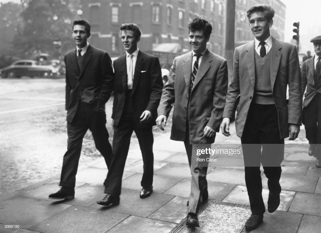 Four young men who were remanded at West London Police Court on charges relating to the Notting Hill race riots, (left to right) John Lewis, Ronald Cooper, Alfred Harper and Peter Thomas.