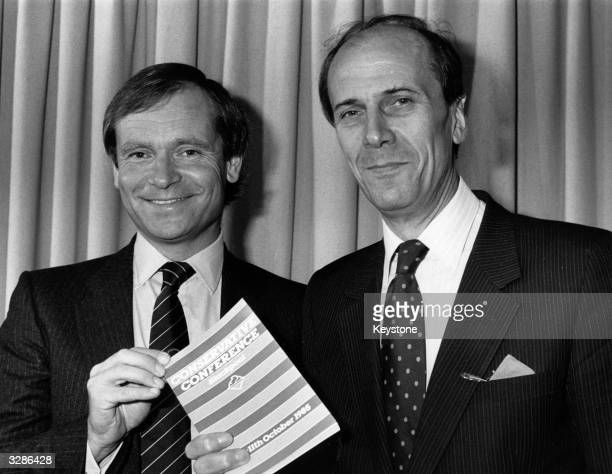 The Chairman of the Conservative Party Norman Tebbit and his Deputy Jeffrey Archer