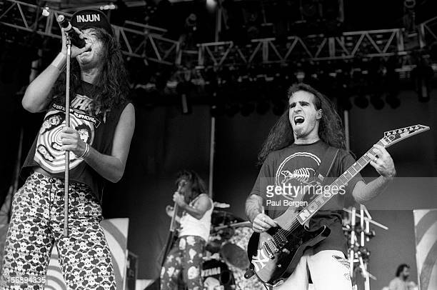 American rock group Anthrax perform live on stage at the Monsters Of rock festival in Tilburg Netherlands on 4th September 1988 Left to right lead...