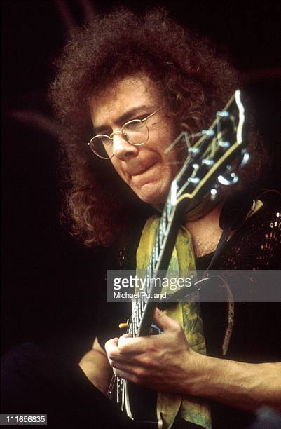 Robert Fripp of King Crimson performs live on stage at the Hyde Park Free Concert in London on 4th September 1971