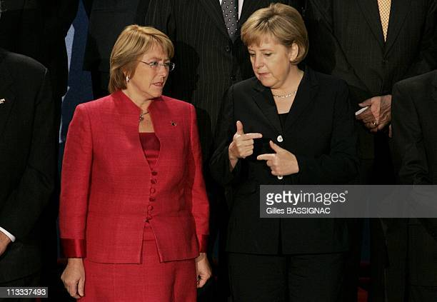 4Th Summit Of The European Union Latin America And The Caribbean On May 12Th 2006 In Viena Austria Here Michelle Bachelet JeriaAngela Merkel
