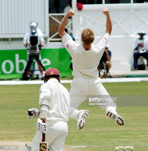 4th TEST 1st DAY ENGLAND V WEST INDIES AT THE RECCREATION GROUND ANTIGUA 10/4/2004 FLINTOFF AFTER TAKING THE WICKET OF GANGAR.