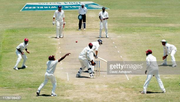 4th TEST 4th DAY ENGLAND V WEST INDIES AT THE RECCREATION GROUND ANTIGUA 13/4/2004 LARA JUST AFTER DROPPING A CATCH FROM HOGGARD OFF HINDS.