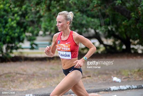 Time Olympian Shalane Flanagan competes in the half marathon race during the 19th running of the Suja Rock 'n' Roll San Diego Marathon on June 5,...