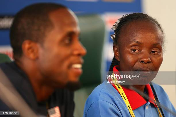 4time World Long Jump champion Dwight Phillips of United States and former Marathon World record holder Tegla Loroupe of Kenya attend the IAAF...
