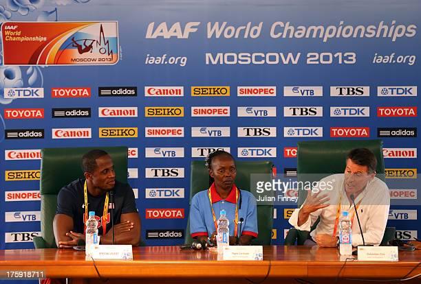 4time World Long Jump champion Dwight Phillips of United States former Marathon World record holder Tegla Loroupe of Kenya IAAF Vice President Lord...