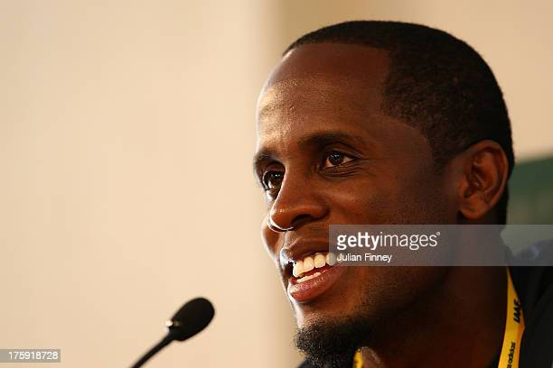 4time World Long Jump champion Dwight Phillips of United States attends the IAAF Ambassador Programme Press Conference during Day One of the 14th...