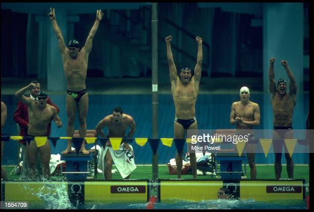 4x100 METRE MEDLEY RELAY AT THE 1988 SEOUL OLYMPICS AS THE TEAM FROM CANADA CELEBRATE THEIR SECOND PLACE. THE UNITED STATES TEAM ARE DAVID BERKOFF,...