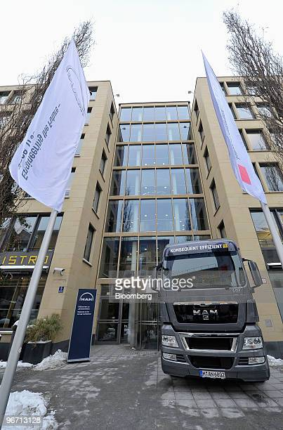 TGX 18680 4x2 BLS truck is seen outside the headquarters of MAN SE prior to the company's news conference in Munich Germany on Monday Feb 15 2010 MAN...