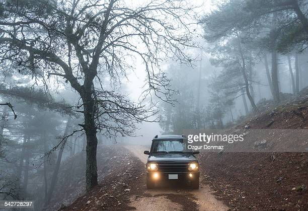4x4 car driving down on a foggy forest road