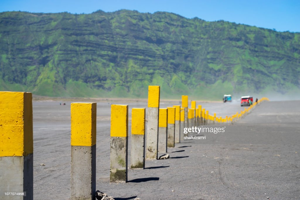 4x4 jeep service for tourist on desert at Bromo Mountain, Mount Bromo is one of the most visited tourist attractions in Java, Indonesia. : Stock Photo
