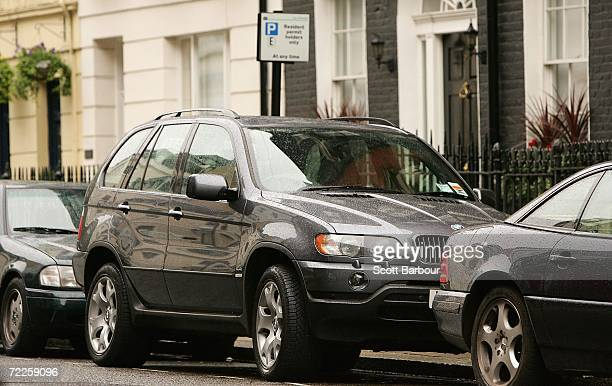A 4x4 vehicle sits parked in a 'resident permit holders only' parking space in central London on October 25 2006 in London England Gasguzzling...