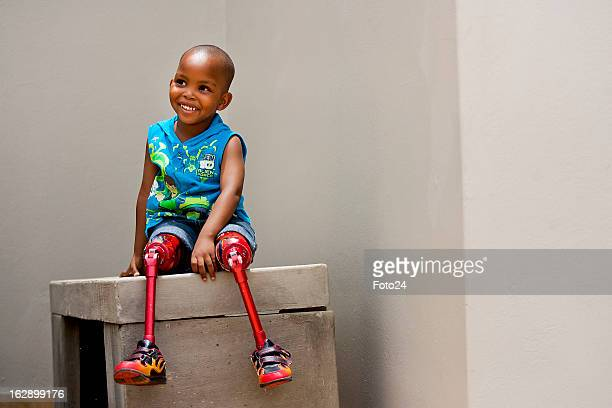 4year old amputee Kitso got to visit his hero the 'Blade Runner' athlete Oscar Pistorius at his house on November 24 2011 in Pretoria South Africa