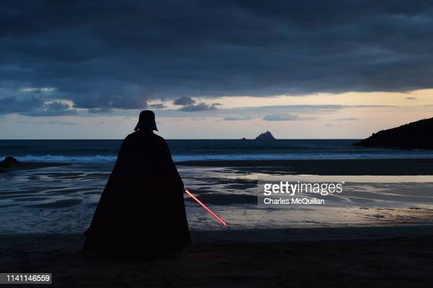 501st Garrison Ireland Leigon member John O'Dwyer dressed as the character Darth Vader looks out towards Skellig Michael island on May 4 2019 in...