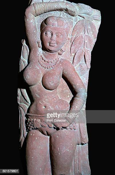 A 50cm high sandstone bracket depicting a yakshi from a Jain Stupa from Mathura from the VA's collection 2nd century