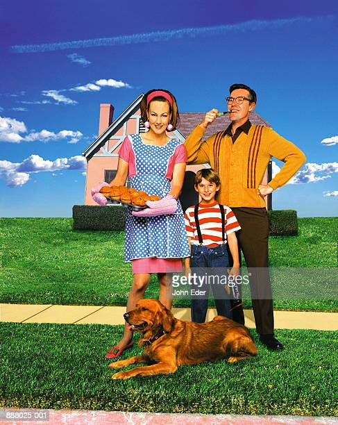 50s style family in front of home with dog (Digital Composite)