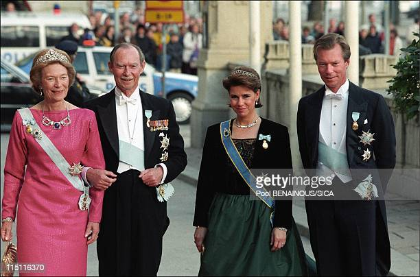 50th anniversary of king Carl Gustav of Sweden in Stockholm, Sweden on April 30, 1996 - Josephine Charlotte, Jean, Maria Teresa and Henri of...