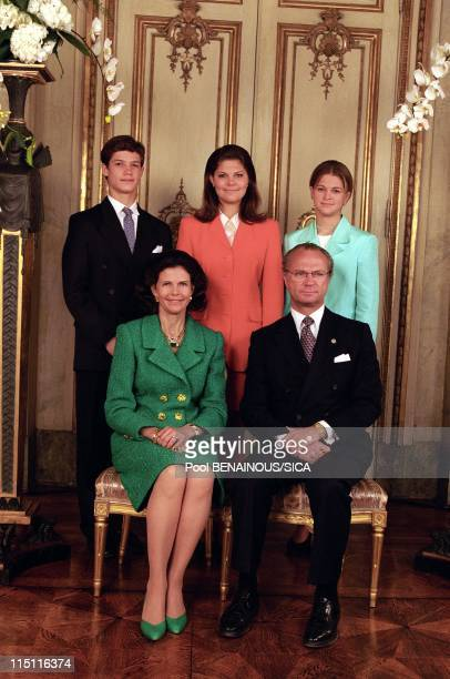 50th anniversary of king Carl Gustav of Sweden in Stockholm, Sweden on April 30, 1996 - Carl Philip, Madeleine, Carl Gustav, Sylvia, Victoria.