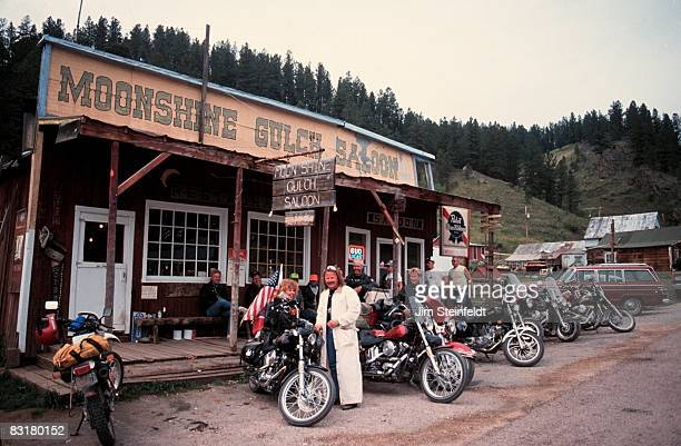 50th Anniversary of the World Famous Sturgis Motorcycle Rally Group of bikers on their way to the Sturgis Rally stop at the Moonshine Gulch Saloon In...