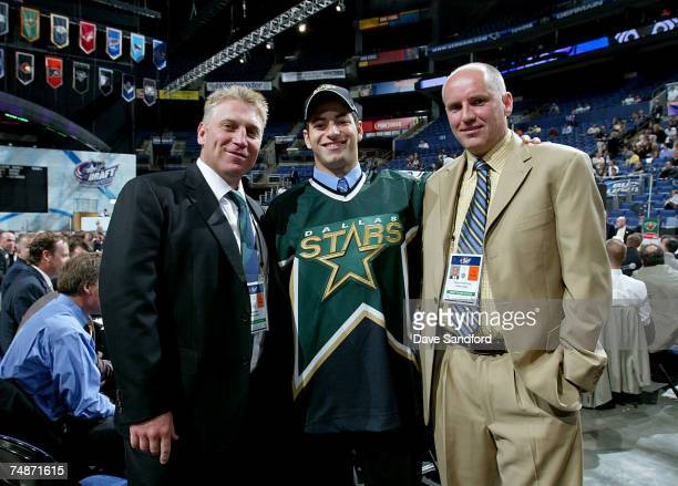 50th overall pick Nico Sacchetti of the Dallas Stars poses with General Manager Doug Armstrong and Brett Hull Special Assistant to the President...