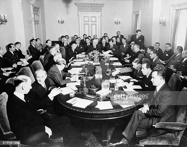 5/10/1945San FranciscoCAMembers of the UNCIO executive committee meet at the San Francisco War Memorial Opera HouseClockwise around the table...