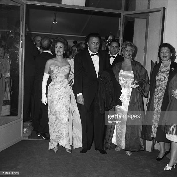 5/10/1960Cannes FranceFour film stars playing in the Italian film La Dolce Vita attend the showing of the movie at the Cannes Film Festival They are...