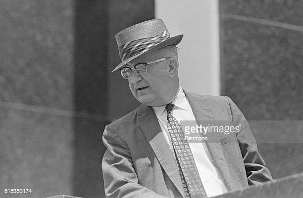 """Birmingham, AL-Birmingham public safety commissioner Eugene """"Bull"""" Connor appears at a press conference announcing a bi-racial agreement to end..."""