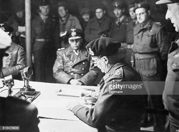 5/11/1945Luneburg Heath Germany In the 21st Army group headquarters at Luneburg Heath Field Marshal Bernard Montgomery puts his signature to the...