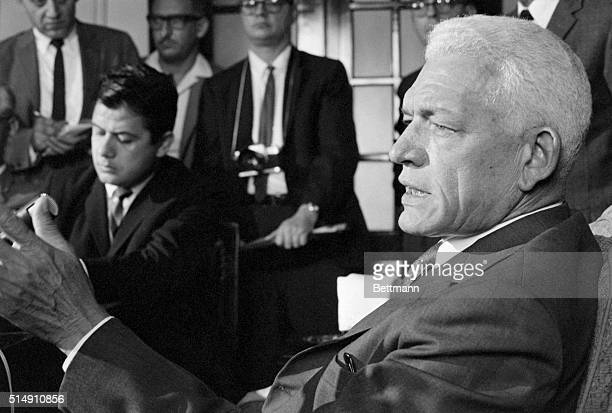 5/11/1963Santo Domingo Dominican RepublicA grimlooking President Juan Bosch of the Dominican Republic talks to reporters during news conference here...