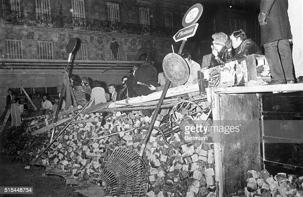5/11/1968Paris France Demonstrating French students stand behind a barricade early May 11th during a clash with police The students have demanded...