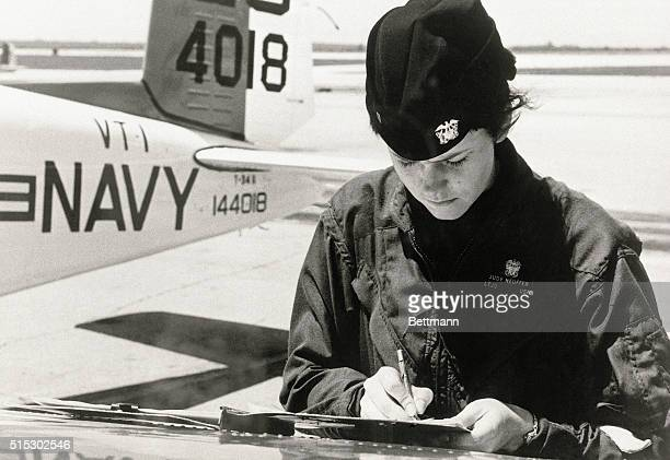5/12/1973PensacolaFL Judith Ann Neuffer soloed 5/10 in a T34 Menter training aircraft at training squadren one Naval Air Station Saufley Field The...