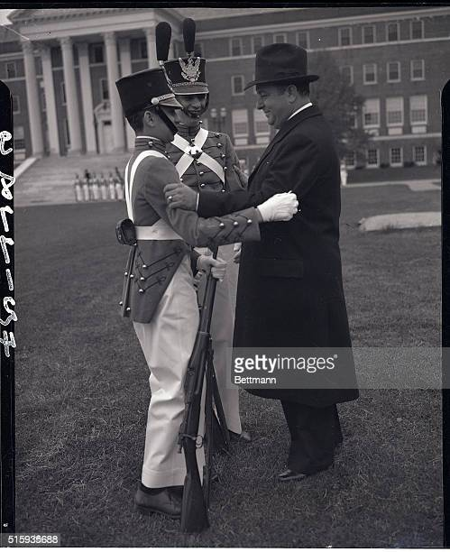 5/13/1939Oakdale Long Island NYPresident Anastasio Somoza of Nicaragua who has been visiting President Roosevelt in Washington is shown embracing his...