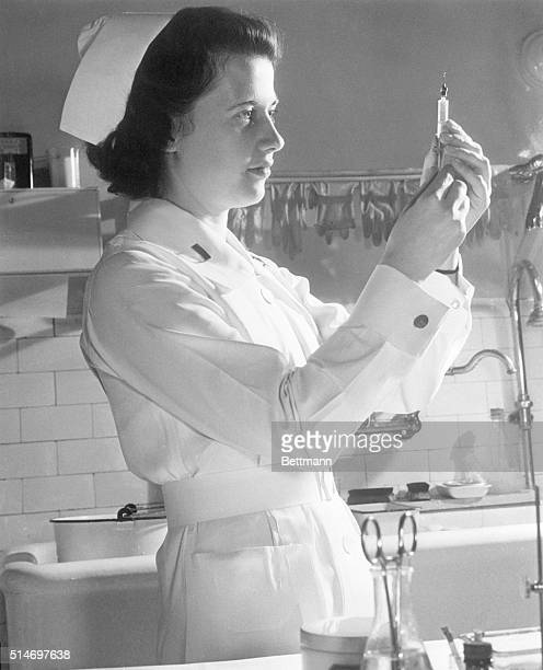 5/13/1943Washington DC A modern Florence Nightingale Lt Frances Bullock of the Army Medical Center in Washington DC is one of America's Army Nurses...