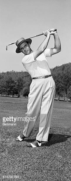 5/13/1949Early morning finds Sam Snead out on the Greenbriar practice range where he drives a plie of golf balls for accuracy and excercise