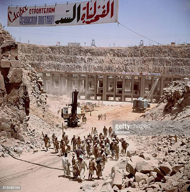 Shown are the workers in Aswan