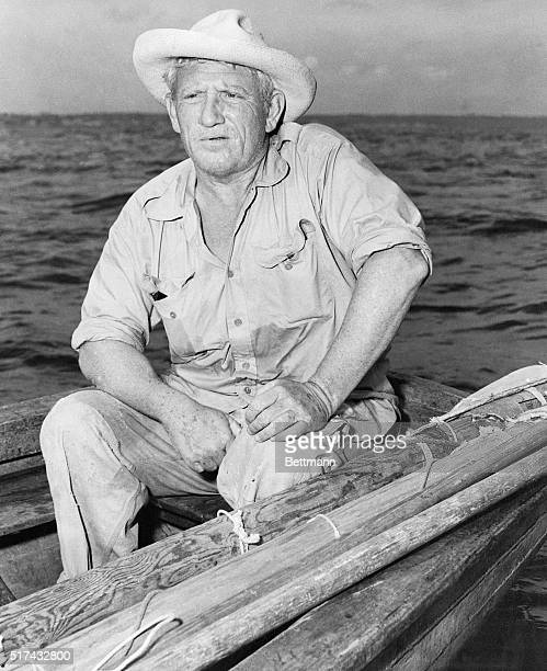 """Cojimar,Cuba-Two-time Academy Award winner Spencer Tracy takes on the character of Ernest Hemingway's """"Old Man"""" in the film production of """"The Old..."""