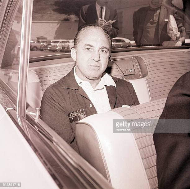 5/14/1962San Francisco CA Mickey Cohen is shown in an automobile before boarding a prison boat for return to Alcatraz Federal Prison in San Francisco...