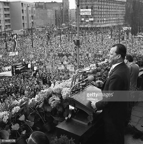 5/1/58Berlin Germany West Berlin Mayor Willy Brandt speaks at a May Day demonstration in front of City Hall here Some 50000 Berliners assembled for...