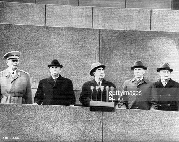 5/1/73Moscow Russia Soviet Leaders watch from rostrum of the Lenin Mausoleum as contingents of May Day Parade pass reviewing stand on Red Square here...
