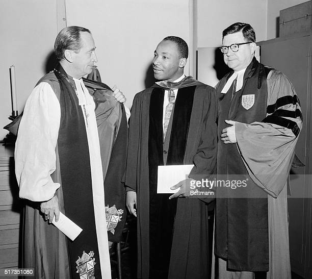 5/18/1956New York NY The Rev Martin Luther King leader of the Montgomery AL bus boycott is shown with the most Rev Horace W B Donegan Bishop of New...
