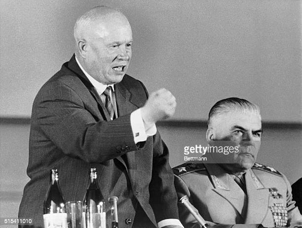 5/18/1960Paris France Brandishing a clenched fist Soviet Premier Nikita Khrushchcev delivers an angry tirade at his farewell press conference here...