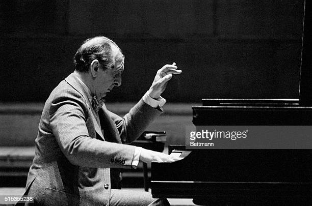 London, England- Pianist Vladimir Horowitz practices at the Festival Hall, during his first visit to the U.K. In 30 years, for his recital scheduled...
