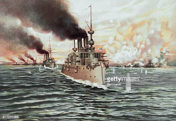 The Spanish American War: United States Fleet destroying the Spanish Fleet at Manila. Color Lithograph.