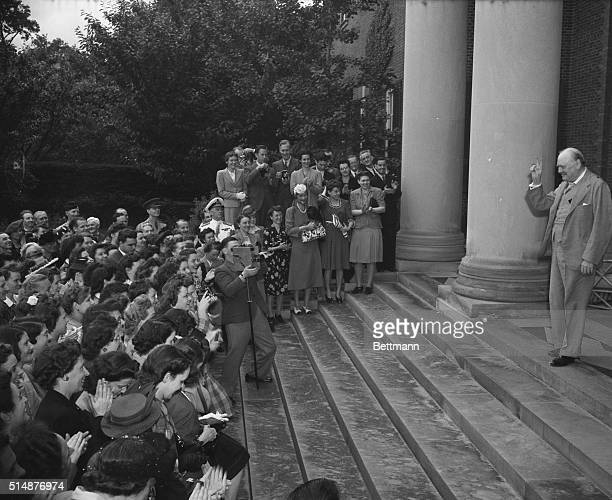 Washington, DC: Prime Minister Winston Churchill of Great Britain addresses members of the British Embassy staff in Washington, and members of the...