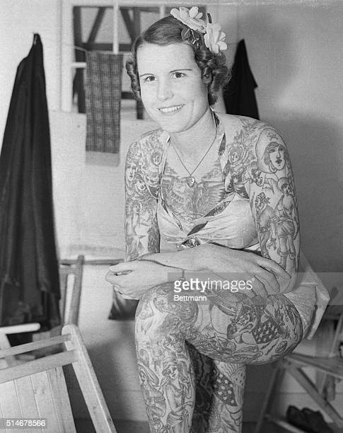 Betty Broadbent the tattoed lady who is known as the most beautiful freak in the world is shown in her dressing room as she prepares to appear in the...