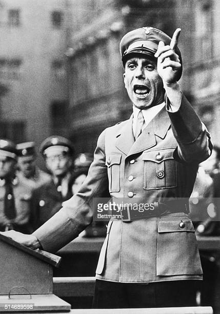 Germany: Dr. Paul Joseph Goebbels, shown above during a fanatical speech in Sept. 1934, the Soviet High Command early today reported that Adolf...