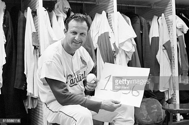 5/2/1963St Louis MO Cards' record smashing ace outfielder Stan Musial tied Babe Ruth's extra base hit record of 1356 with a tworun double in the...