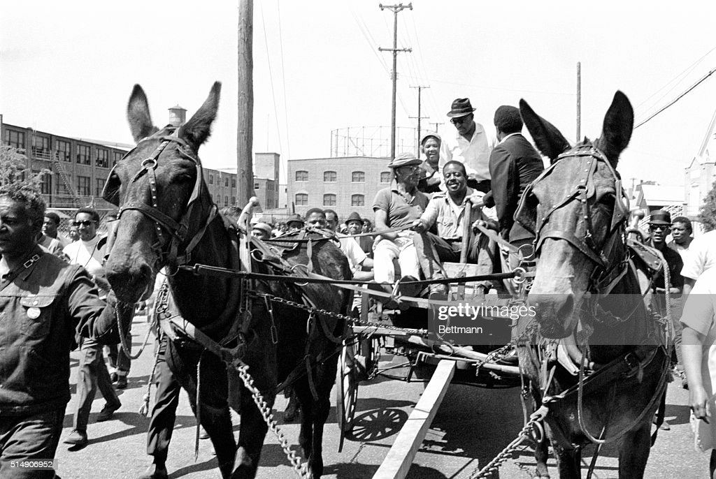 Memphis,TN- Reverend Ralph Abernathy, President of the SCLC and director of the 'poor people's' march on Washington, drives a mule-drawn farm wagon to start the march.